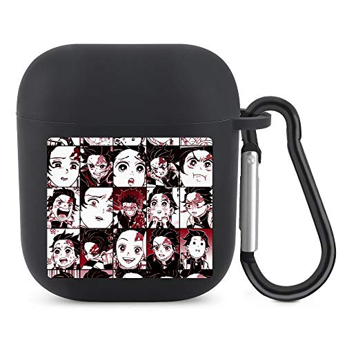 Tanjiro - Demon Slayer Kimetsu No Yaiba Collage My Hero Academia Airpod Case,Soft Silicone Cover Cases for Airpods 1/2,Bluetooth wireless Anime unique printing Shockproof Protective TPU Airpod Case wi