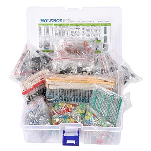 Molence DIY Electronics Components Kit Assortment, Resistors 1818PCS, LED, Triode, Capacitors, Diodes, PCB, Potentiometer, Variable Resistance, Stabilivolt for Arduino UNO MEGA2560 Raspberry Pi MCU