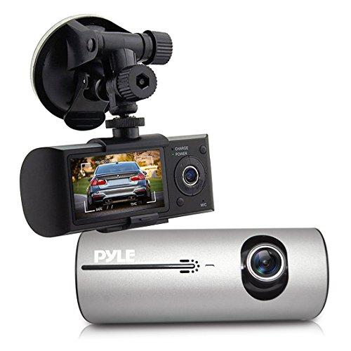 2.7'' Dash Cam Rearview Mirror - Digital Screen w/ Rear & Front View Camera DVR G-Sensor GPS Navigation & Rechargeable Battery - Pyle PLDVRCAMG37 , Black