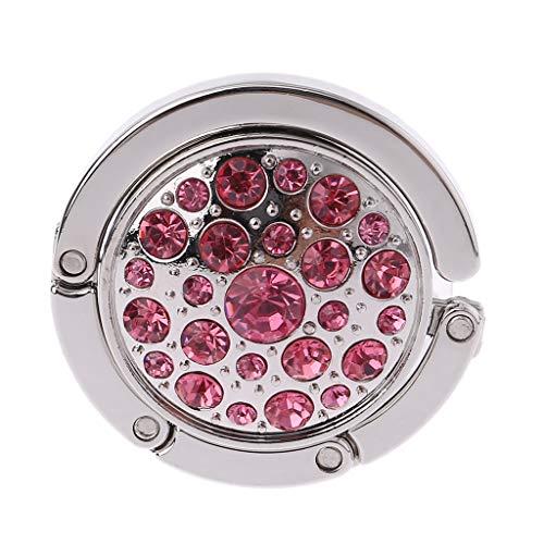 Baiyaoi - Gancho Redondo Plegable para Bolso de Mano con Diamantes de imitación