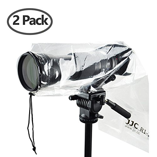 "DSLR Camera Rain Cover JJC Rain Coat Sleeve Protector for Canon Nikon Fujifilm Sony Olympus Panasonic Tamron Sigma with a Lens up to 18"" PE Material Totally See-Through -2 Pack"