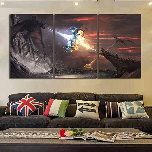 WEDSA Good Art Canvas Painting Decoración Serie Abstracta Juego de Tronos Temporada 8 Ice and Fire Dragon Movie Poster Canvas Painting Wall ARR Decoración para el hogar 40x60cmx3 Sin Marco