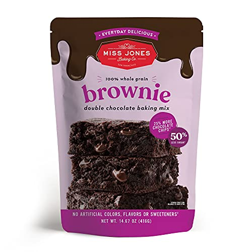 Miss Jones Baking Brownie Mix - Whole Grains, More Chocolate Chips, Guilt Free Brownie Mix, Naturally Sweetened Desserts & Treats