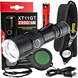 klarus XT11GT Tactical Rechargeable Flashlight CREE XHP35 HD E4 LED 2000 Lumens w/ FT11 Green Hunting Filter and Lumintrail Keychain Light
