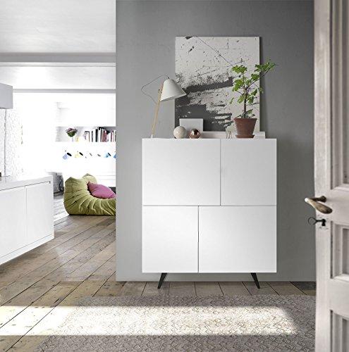 Dugar Home - Aparadores Modernos para Salón - Mueble Cubo Lyon Blanco (120x40x132)