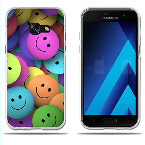 Funda Samsung Galaxy A3 2017-FUBAODA-(Interesante) Diveretido Dibujo de Cara Sonriente,Amortigua los Golpes, Funda Protectora Anti-Golpes para Samsung Galaxy A3 2017