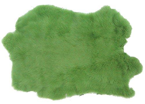 Ensuite Kaninchenfelle hellgrün gefärbt, ca. 30x30 cm, Felle vom Kaninchen mit seidigem Haar