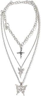 Dainty Cross Fairy Elfin Butterfly Pendant Statement Necklace Unique Punk Layering Chain Choker Boho Jewelry Set Layered C...
