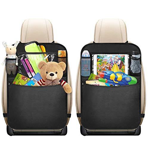 Auto Rückenlehnenschutz, 2 Stück mixigoo Auto Rücksitz Organizer für Kinder mit Große Taschen und Durchsichtigem iPad-Tablet-Fach Rückenlehnen-Tasche Wasserdicht Kick-Matten-Schutz für Autositz