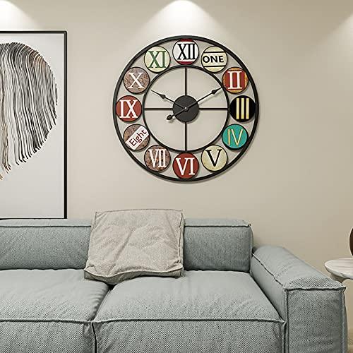 HCCTOZZ Reloj Pared Decorativo Relojes Pared Diseño Moderno Blanco, Reloj Pared Números Romanos Metal Grande, Relojes Arte Creativo para Restaurante, Cocina, Estudio, 50 cm(Color:Black)