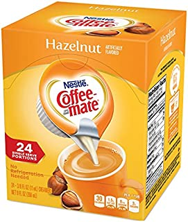 Coffee Mate Coffee Creamer Liquid Singles, Hazelnut, 24 Count (Pack of 4)