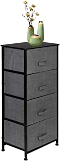 Azadx Vertical Dresser Storage Tower, Nightstand End Table with Removable Fabric Bins, Sturdy Steel Frame and Wood Top, Dresser Organizer Unit for Bedroom, Entryway, Hallway (4-Tier, Charcoal Gray)