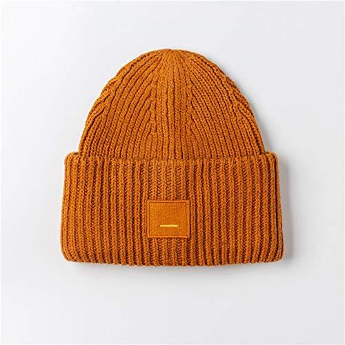 Nuevos Sombreros Unisex de otoño e Invierno para Mujer Gorro cálido de Doble Capa Gorro de Punto cálido-Orange