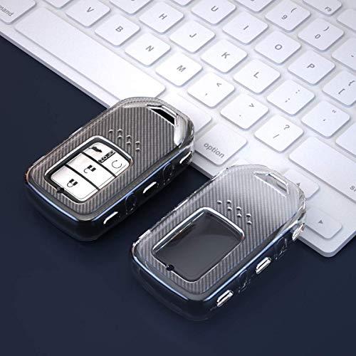 Keyless4U transparent car key fob case cover Protection shell for Honda Civic Accord Pilot Fit Odyssey CR-V CRV URV XRV EX EX-L 2/3/4/5 buttons smart key (Black)