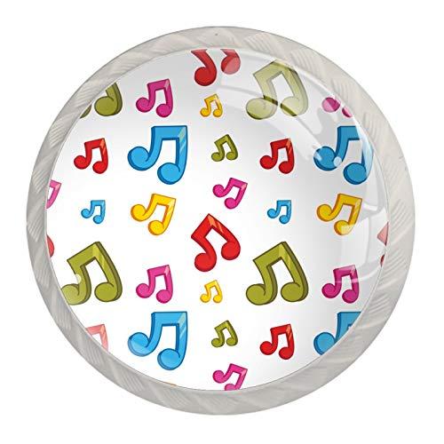 Pomos coloridos para gabinete de notas musicales con tornillos para cocina, aparador, armario, baño, armario