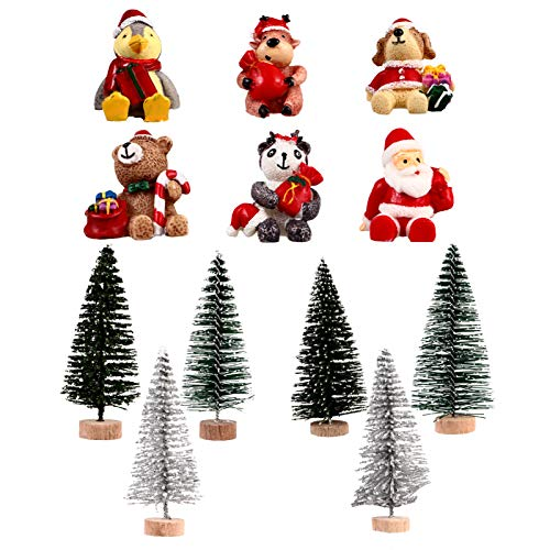EXCEART 12pcs Christmas Miniature Figurine Resin Xmas Santa Claus Statue Mini Xmas Tree Ornaments for Globes Dollhouse Fairy Garden Cake Topper (Random Style)