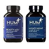 HUM Vegan Sleep Set with Mighty Night Beauty Cell Renewal & Sleep Supplement - Ceramides, CoQ10 & Ferulic Acid (60 Softgels) & Beauty zzZz Sleep Aid - Melatonin, Calcium & Vitamin B6 (30 Tablets)