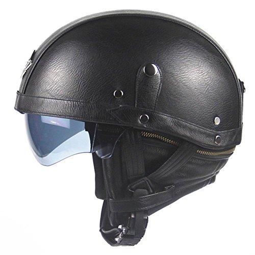 Vintage Jet-Helm · Motorrad-Helm Roller-Helm Scooter-Helm Bobber Mofa-Helm Chopper Retro Cruiser Vintage Pilot Biker · Visier Schnellverschluss Tasche (56-61cm)