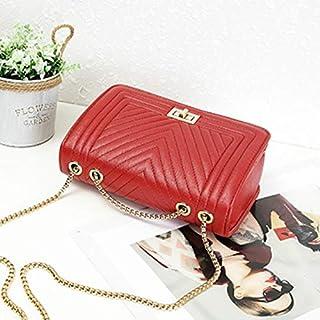 Adebie - Fashion New V Pattern Women Handbag Chain Female Brand Design Shoulder Crossbody Bag Simple PU Leather Brand Lady Messenger Bag Red []