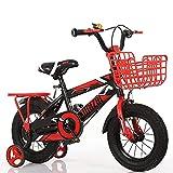 N&I Bicicleta infantil con cuadro de acero al carbono y marco grueso de 3 a 7 años, para niños de 3 a 18 pulgadas, color amarillo