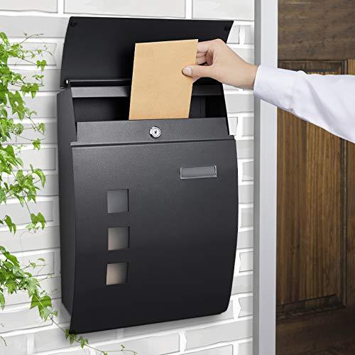 WOOHSE Briefkasten Anthrazit, großer Wandbriefkasten inkl. Namensschild und Sichtfenster, Postkasten Mailbox Matt, Abschließbar, 2 Schlüssel, BxHxT: 300 x 455 x 102mm