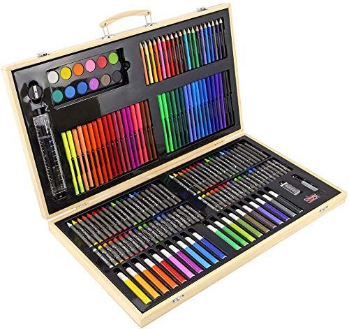 Blue Case 150pcs Kit de dessin de luxe Art Supplies w cadeau pour les