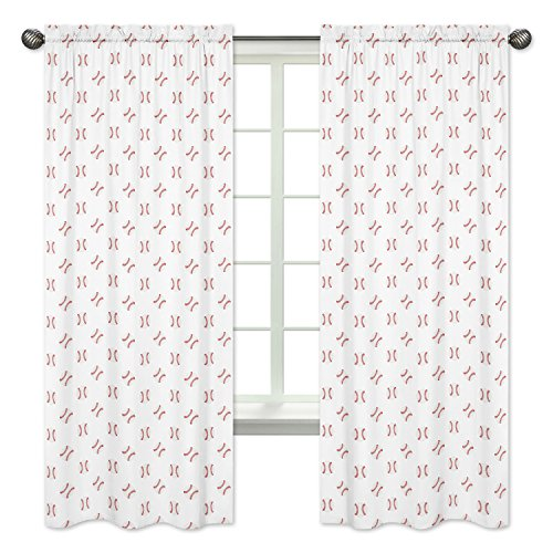 Sweet Jojo Designs Red and White Window Treatment Panels Curtains for Baseball Patch Sports Collection - Set of 2