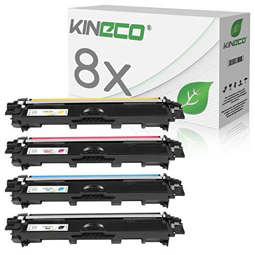8X Toner von Kineco ersetzt TN241 TN245 Multipack 2X BK 2X CMY für Brother HL-3142CW MFC-9332CDW