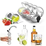 2Pcs Ice Cube Molds & Trays - 2.2' Bar Ice Cube 4 Ball Maker Mold Sphere Large...