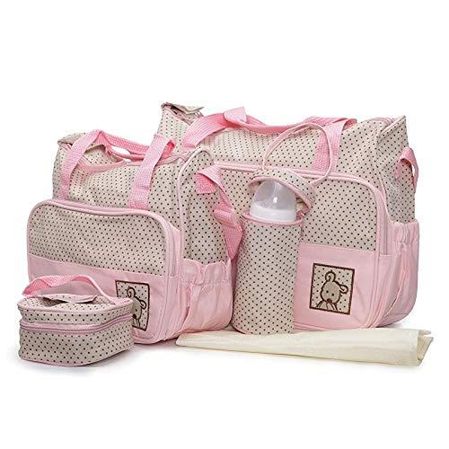 Moni Wickeltasche Stella, Set mit Wickelunterlage, Isoliertasche f. Babyflaschen rosa