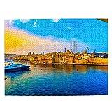 Malta Harbor Jigsaw Puzzle de 500 piezas para adultos niño de madera regalo recuerdo 20.5 x 15 pulgadas (FX03792)