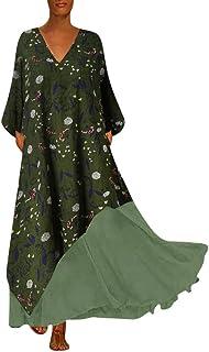 Auifor, Impresa Bolsillo de Manga Larga Retro con Cuello en V de Las Mujeres de Gran tamaño Costura Vestido sin Mangas de la impresión Floral