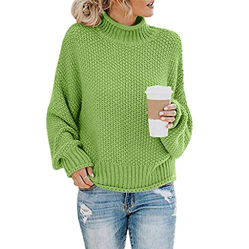 HENWERD Womens Turtleneck Oversized Sweaters Chunky Batwing Long Sleeve Pullover (Green,L)