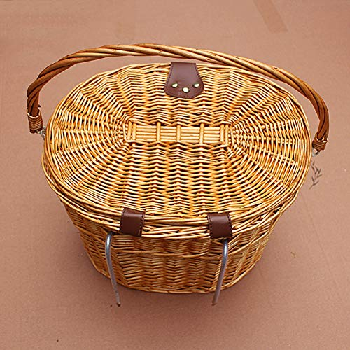 Stecto Wicker Bike Basket, Retro Handmade Bike Bicycle Front Basket Bike Shopping Basket With Lid & Leather Strip, Easy to Remove and Install, Universal for Any Type of Bikes