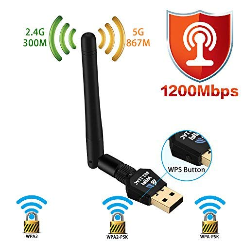 1200Mbps Wireless USB WiFi Adapter - Dual Band Wireless WiFi Adapter (2.4G/300M+5G/867M) Wireless Adapter, WiFi Adapter for PC/Laptop/Desktop, Support Win10/8.1/8/7/XP/Linux/Mac OS