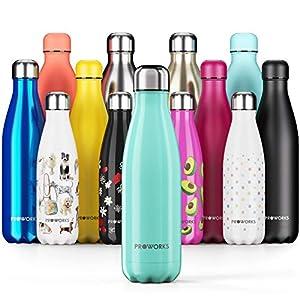 Proworks Botellas de Agua Deportiva de Acero Inoxidable | Cantimplora Termo con Doble Aislamiento para 12 Horas de Bebida Caliente y 24 Horas de Bebida Fría - Libre de BPA - 1.5L – Verde