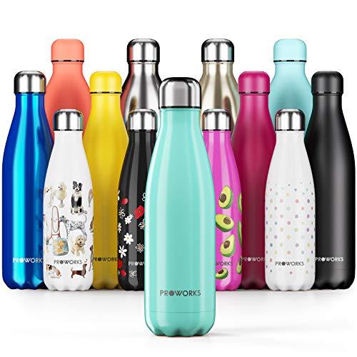 Proworks Botellas de Agua Deportiva de Acero Inoxidable | Cantimplora Termo con Doble Aislamiento para 12 Horas de Bebida Caliente y 24 Horas de Bebida Fría - Libre de BPA - 500ml – Verde