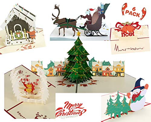 BTOOP Merry Christmas Holiday Cards Greeting cards with Envelope Set for Xmas New Year Festival Gift - Chirstmas Tree Snowman Bell Apple Santa riding motorcycle (6Pack 3D christmas cards)