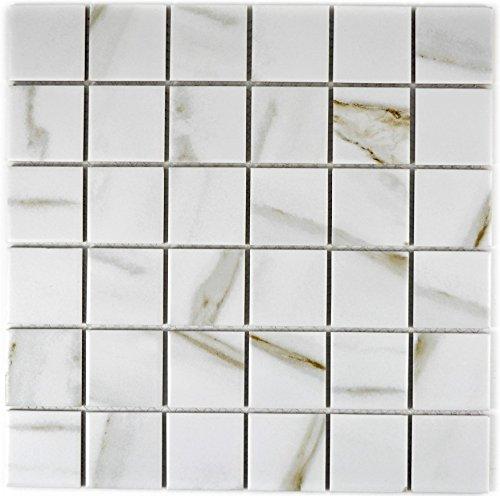 Mosaik Fliese Keramik weiß Calacatta für WAND BAD WC DUSCHE KÜCHE FLIESENSPIEGEL THEKENVERKLEIDUNG BADEWANNENVERKLEIDUNG Mosaikmatte Mosaikplatte