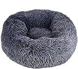 Queta Panier de luxe pour animal domestique - Pour chats et chiens de petite et moyenne taille - Facile à nettoyer - En forme de doughnut - 50 cm (gris foncé)