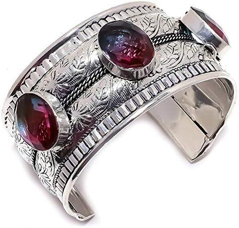 YUVI Bi-Color Tourmaline Gemstone .925 Silver Jewelry Cuff Brace