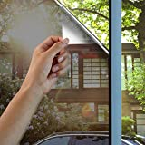 Lifetree Mirror Window Film Reflective Film One Way Mirror Effect Privacy Glass Film Non-Adhesive Film Sun Block Window Film Static Cling Film Heat Control Window Tint Film 90 x 200cm (Black-Silver)