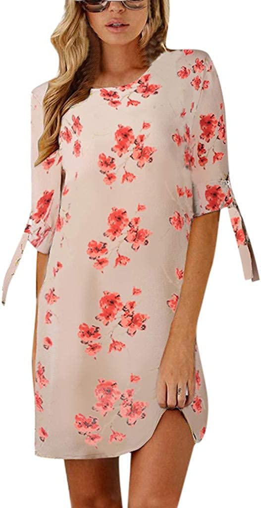 Limsea Women's Summer T Shirt Dresses Floral Print Bowknot Sleeves Cocktail Mini Dress Casual Party Dress