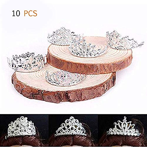 Swovo Doll Crowns Crystal Girls Crowns Silver Fashion Royalty Tiara Doll Accessories 10Pcs