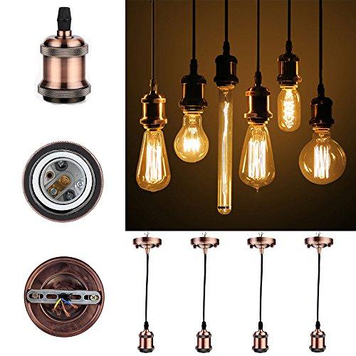 GreenSun Vintage Pendelleuchte Hängelampe 4 Stück,E27 Lampenfassung Antike Edison Pendelleuchte Hängelampe Halter Lampe Zubehör mit 1.35 Meter 3-adriges Kabel,Rotes Kupfer