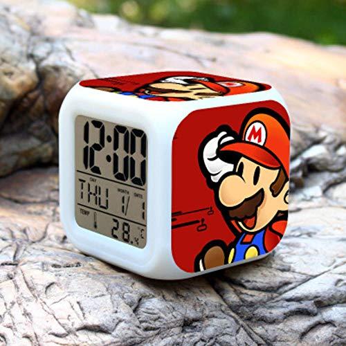 NXSP Reloj Despertador Super Mario Bros,Reloj LED para niños,luz Nocturna de Dibujos Animados,Destello,7 Colores,Reloj Digital,Reloj de Escritorio electrónico