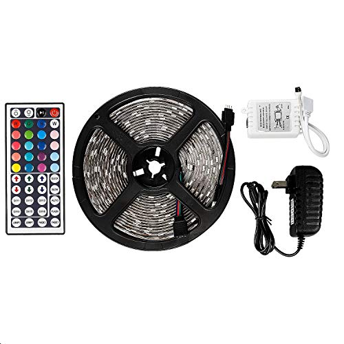 LED Strip Lights Waterproof Tape Lights Dimmable LED Lights Kit 16.4ft DC 12V 150 Units 5050 RGB LED TV Backlight Strip with 44 Key Remote Controller and Power Adapter for Home, Kitchen,Decoration