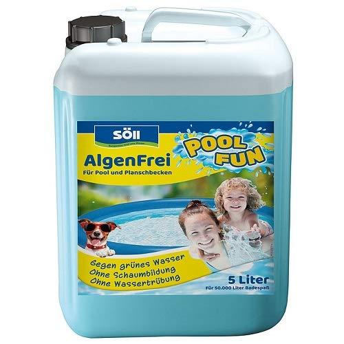 Söll 10751 AlgenFrei Pool Fun Algenmittel Reinigungsmittel flüssig 5 l - wirksamer Poolreiniger gegen Algen im Pool Planschbecken Schwimmbad Kinderbecken Swimmingpool Whirlpool