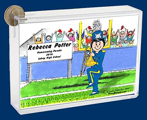 Personalized Friendly Folks Cartoon Caricature Bank: Marching Band – Trombone – Female