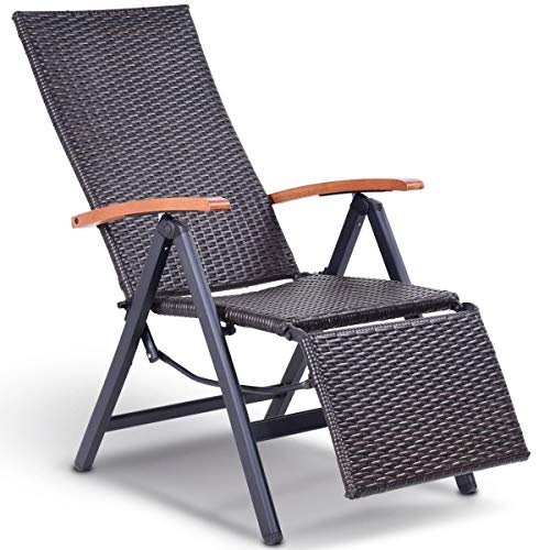 Heize best price Aluminum Recliner Chair Lounge Chaise Seat Foldable Outdoor Patio Rattan Wicker (U.S. Stock)